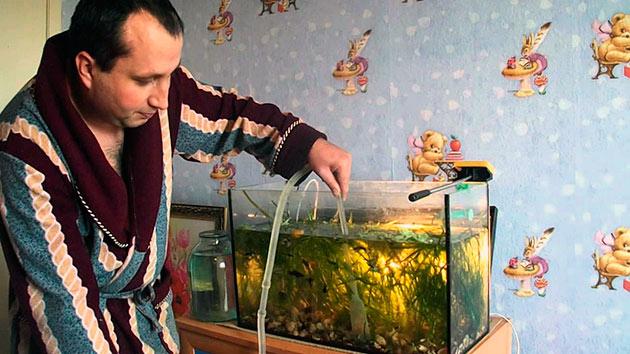 Если вы оставили обитателей аквариума внутри, то воду можно заменить только на 2\3 общего объекта
