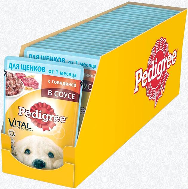 Сухие корма «Pedigree» в упаковке от 2кг стоят в районе 400 рублей, а влажные — около 40 рублей за 80гр
